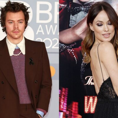 Side by Side photos of Harry Styles on the left in a suit and Olivia Wilde with her back turned towards the camera.