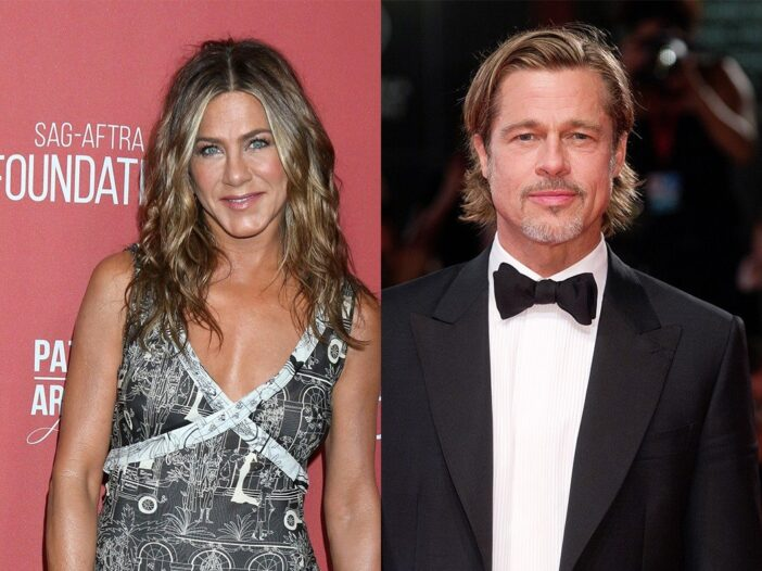 side by side photos of Jennifer Aniston in a black and white dress and Brad Pitt in a tuxedo