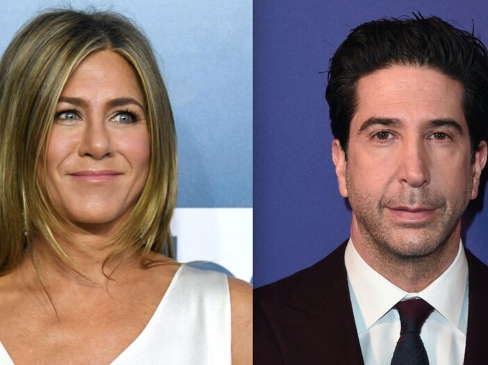 Side by side photos of Jennifer Aniston and David Schwimmer