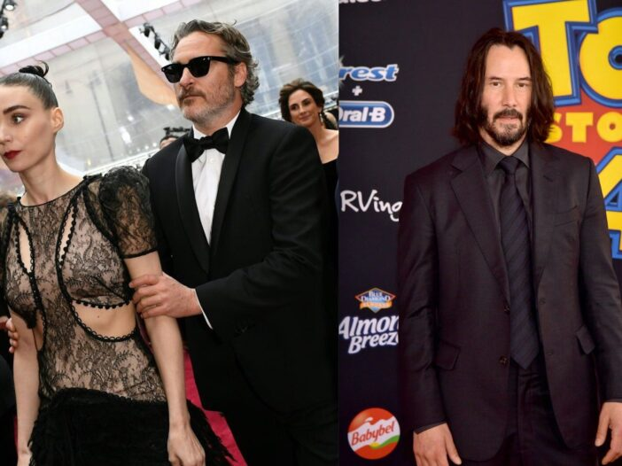 Side by side photos of Joaquin Phoenix and Rooney Mara, and Keanu Reeves