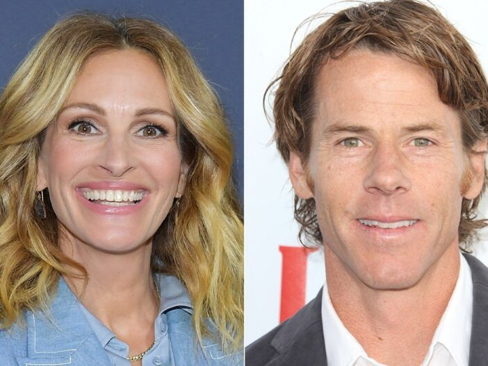 side by side photos of Julia Roberts in a blue shirt smiling at the camera and Danny Moder in a suit