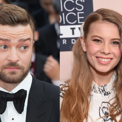 Side by side photos of Justin Timberlake on the left and Bindi Irwin on the right.