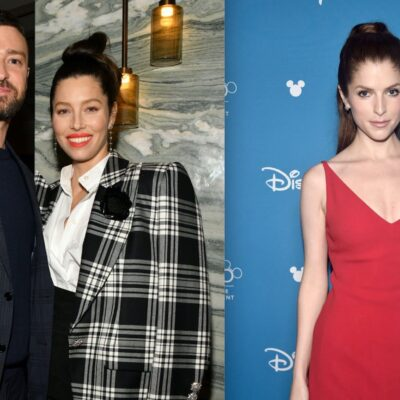 Side by side photos of Justin Timberlake and Jessica Biel, and Anna Kendrick