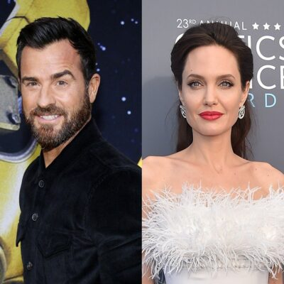 side by side photos of Justin Theroux in a black shirt and Angelina Jolie in a white dress