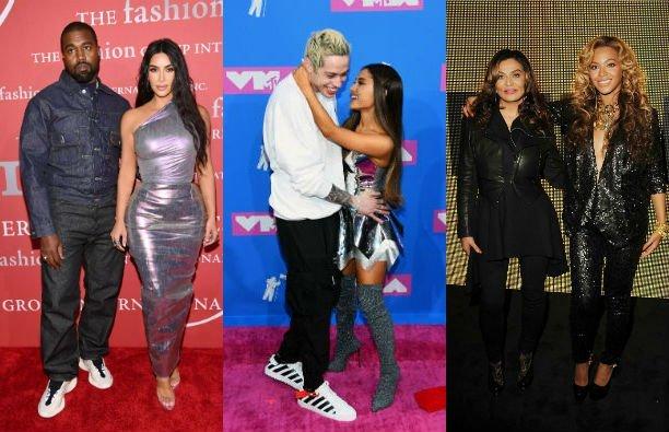 Side by side photos of Kanye West and Kim Kardashian; Pete Davidson next to Ariana Grande; Tina Know