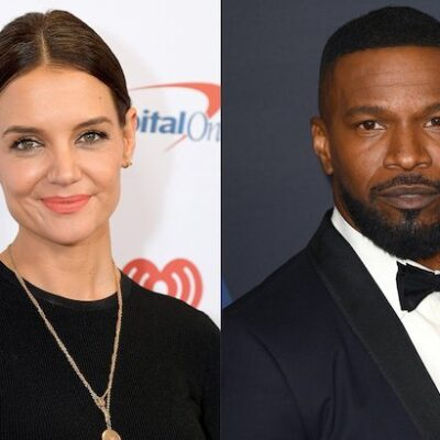 side by side photos of Katie Holmes in black against a white background next to Jamie Foxx in a tux