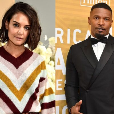 Side by side photos of Katie Holmes in a colorful sweater in the left and Jamie Foxx in a tuxedo on