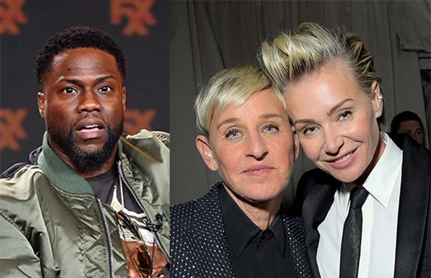 Side by side photos of Kevin Hart next to a photo of Ellen Degeneres and Portia de Rossi together