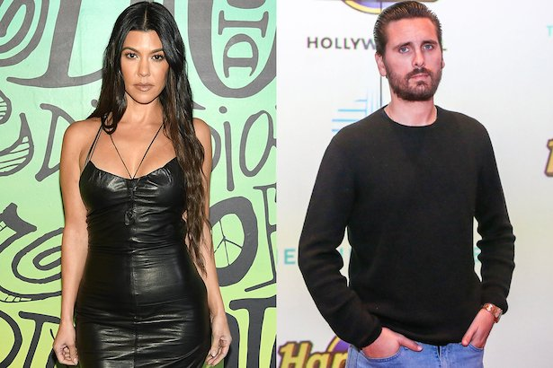 side by side photos of Kourtney Kardashian in a black dress next to Scott Disick in a dark sweater
