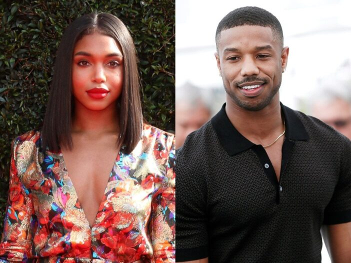 Side by side photos of Lori Harvey smiling in a floral dress and Michael B. Jordan in a black shirt
