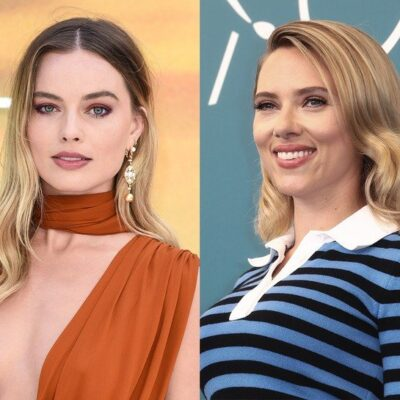 side by side photos of Margot Robbie smiling in orange and Scarlett Johansson smiling in blue