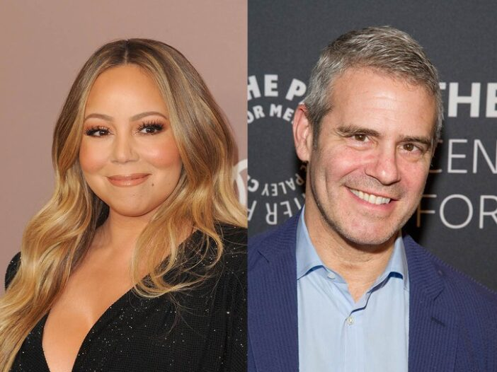 side by side photos of Mariah Carey in a black dress and Andy Cohen in a blue suit