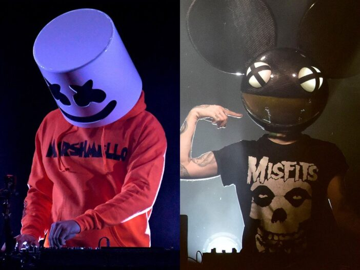 side by side photos of Marshmello in a marshmallow mask and orange hoodie and Deadmau5 in a mouse ma