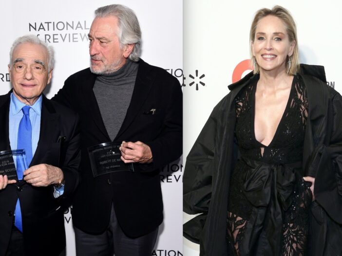Side by side photos of Martin Scorsese and Robert De Niro, and Sharon Stone