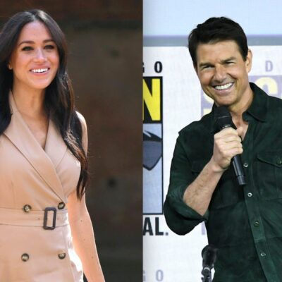 Side by side photos of Meghan Markle and Tom Cruise