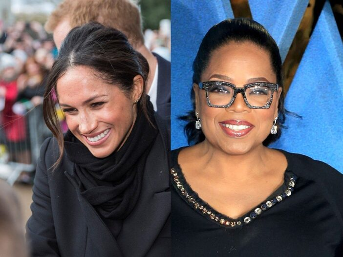 side by side photos of Meghan Markle in a black jacket and Oprah Winfrey in a black dress