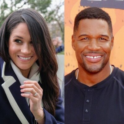side by side photos of Meghan Markle in a blue coat and Michael Strahan in a black shirt