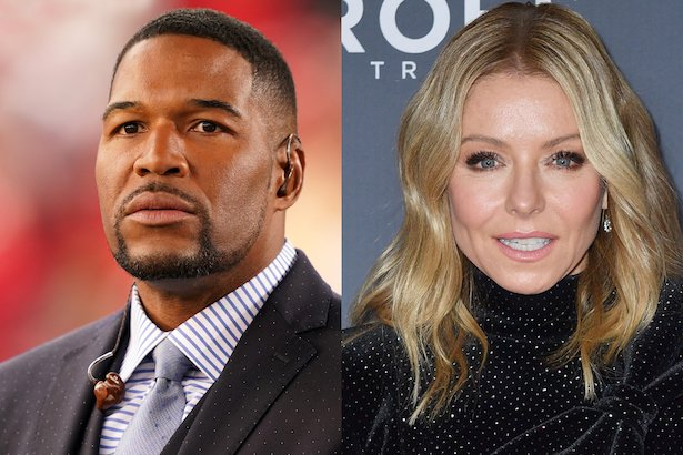 side by side photos of Michael Strahan in a grey suit and Kelly Ripa in a black dress
