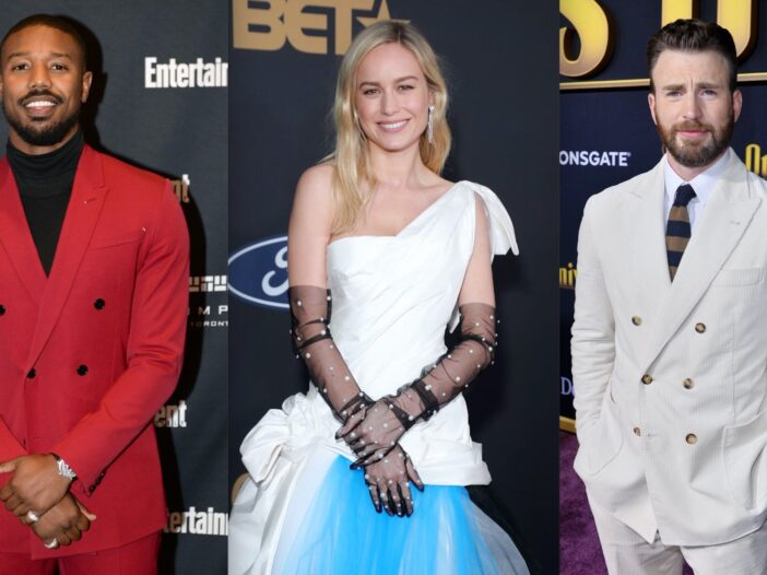 Side by side photos of Michael B. Jordan, Brie Larson, and Chris Evans