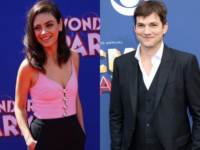 Side by side photos of Mila Kunis on the left in a pink shirt and black pants and Ashton Kutcher on the right in a three-piece suit.