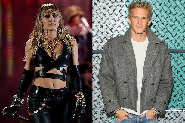 side by side photos of Miley Cyrus in black leather pants, crop top and gloves and Cody Simpson in a