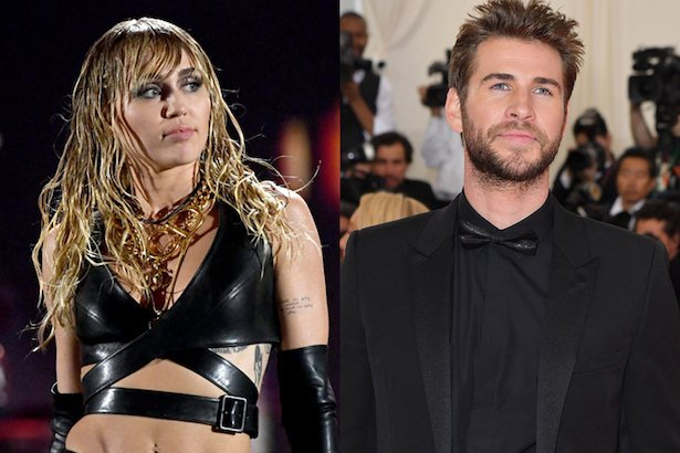 side by side photos of Miley Cyrus performing in black next to Liam Hemsworth in a black tuxedo