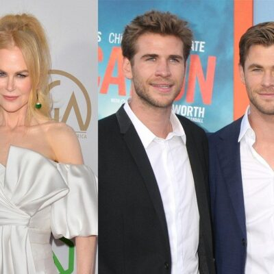 side by side photos of Nicole Kidman in a white dress, Chris Hemsworth and Liam Hemsworth in suits