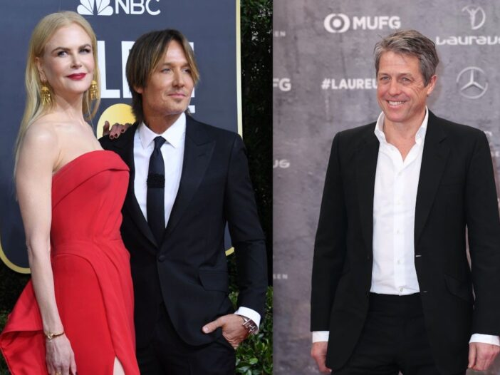 Side by side photos of Nicole Kidman and Keith Urban, and Hugh Grant