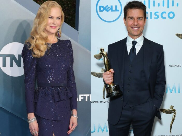 side by side photos of Nicole Kidman smiling in a blue dress and Tom Cruise smiling in a navy suit h