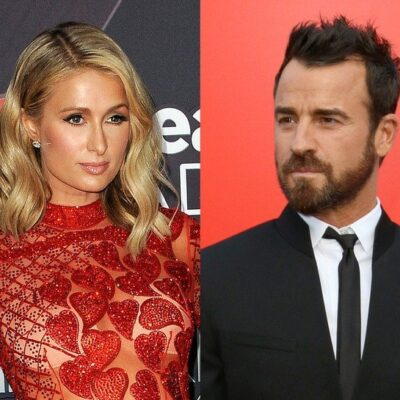 side by side photos of Paris Hilton in a red dress and Justin Theroux in a suit