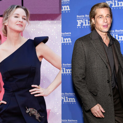 Side-by-side photos of Renee Zellweger (left) and Brad Pitt (right)