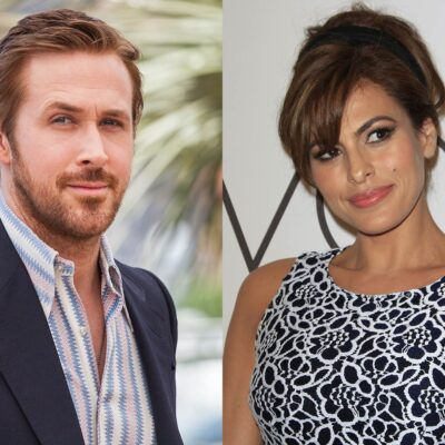 side by side photos of Ryan Gosling in a suit and Eva Mendes in a black dress