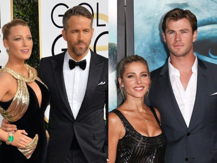 Side by side photos of Ryan Reynolds, Blake Lively and Chris Hemsworth, Elsa Pataky