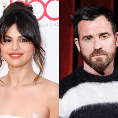 side by side photos of Selena Gomez smiling in a tan dress and Justin Theroux staring ahead in a bla