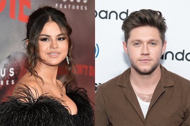 side by side photos of Selena Gomez in a black dress next to Niall Horan in a brown jacket and white