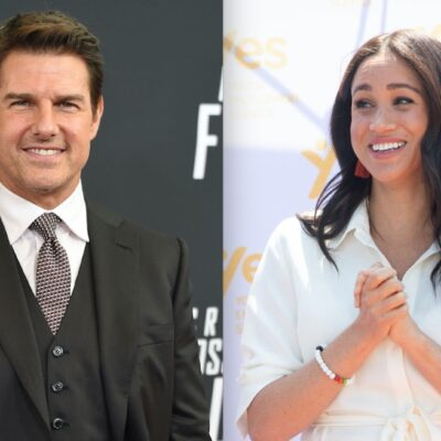 Side by side photos of Tom Cruise and Meghan Markle at events