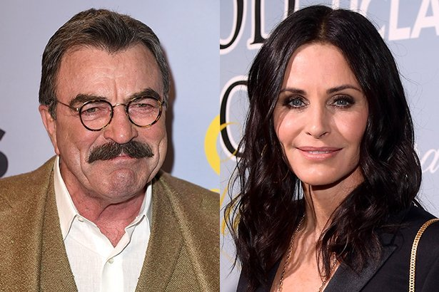 Side by side photos of Tom Selleck smiling in a brown jacket and white shirt and Courteney Cox smili
