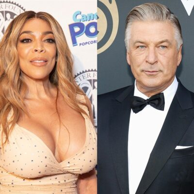 side by side photos of Wendy Williams in a tan dress and Alec Baldwin in a tuxedo