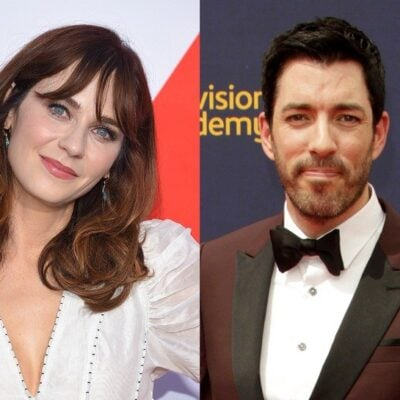 side by side photos of Zooey Deschanel in a white blouse and Jonathan Scott in a magenta tux