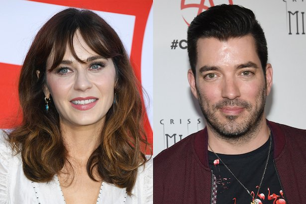 side by side photos of Zooey Deschanel smiling in a white top next to a photo of Jonathan Scott in a