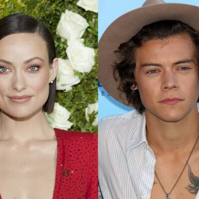 Side by side photos. Olivia Wilde on the left in red, Harry Styles on the right in hat and open shirt