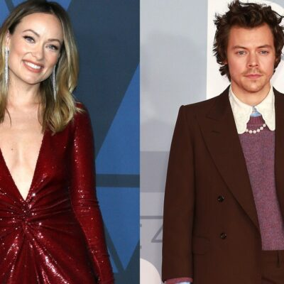 Side by side photos. Olivia Wilde on the left in a red dress with a plunging neckline and Harry Styles on the right in a suit and sweater combo.