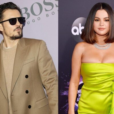 Side by side photos. Orlando Bloom in a tan suit on the left, Selena Gomez in a green dress on the r