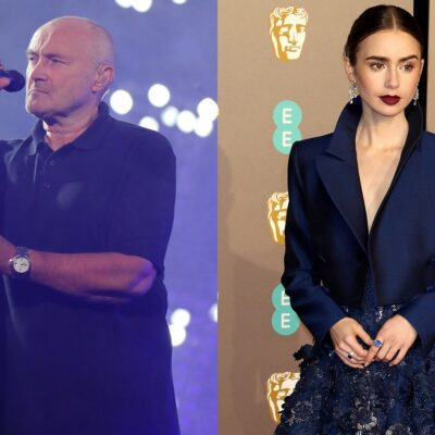 Side-by-side photos. Phil Collins singing on stage on the left. Lily Collins in a blue dress on the right.