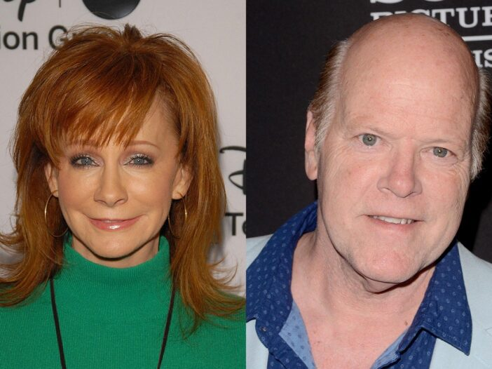 Side by side photos, Reba McEntire on the left in a green sweater, Rex Linn on the right in a blue shirt and light blue jacket.