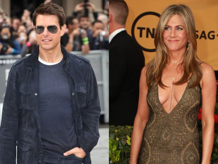 Side by side photos, Tom Cruise in sunglass on the right, Jennifer Aniston in a low cut gold dress.