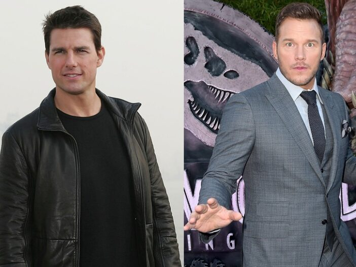 Side by side photos. Tom Cruise in a leather jacket on the left, Chris Pratt looking surprised in a