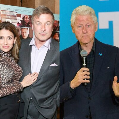side by side pics of Alec Baldwin in a grey suit with Hilaria Baldwin and Bill Clinton in a navy suit