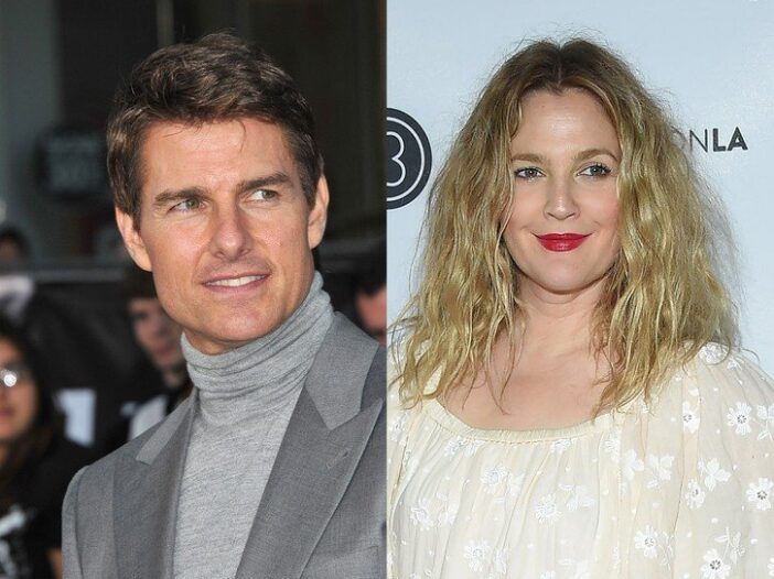 side by side pictures of Tom Cruise in a grey suit and Drew Barrymore in a yellow blouse
