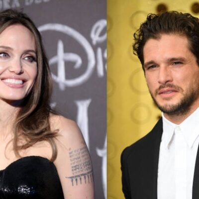 Side by side shot of Angelina Jolie and Kit Harington